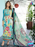 SC 13249 AquaGreen and Multicolor Party Wear Satin Cotton Pakistani Style Indian Suit
