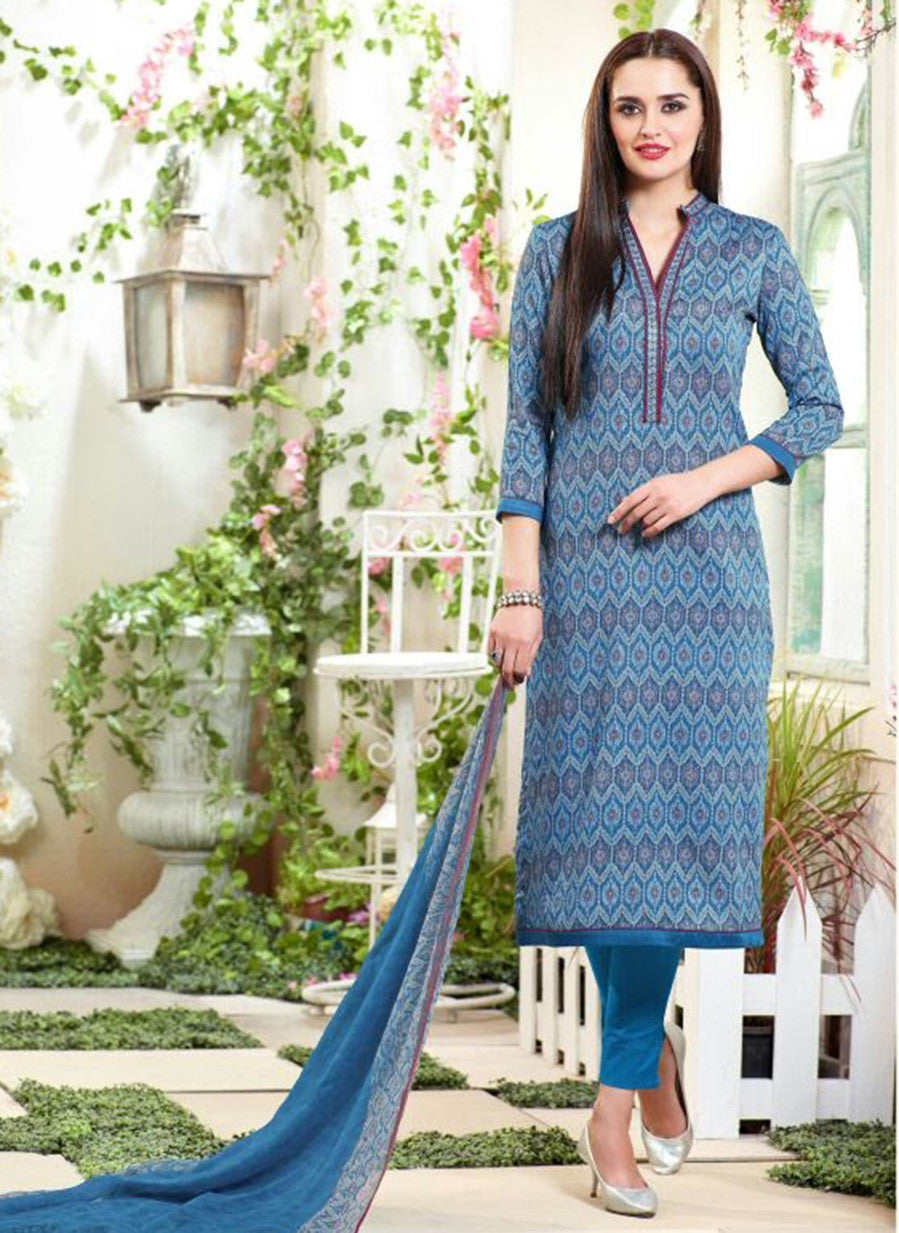 Sahiba MN 02 Blue Color Cotton Designer Suit