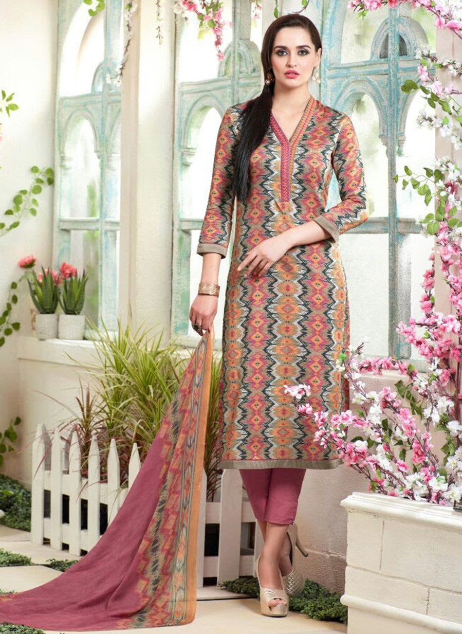 Sahiba MN 04 Pink & Multi Color Cotton Designer Suit