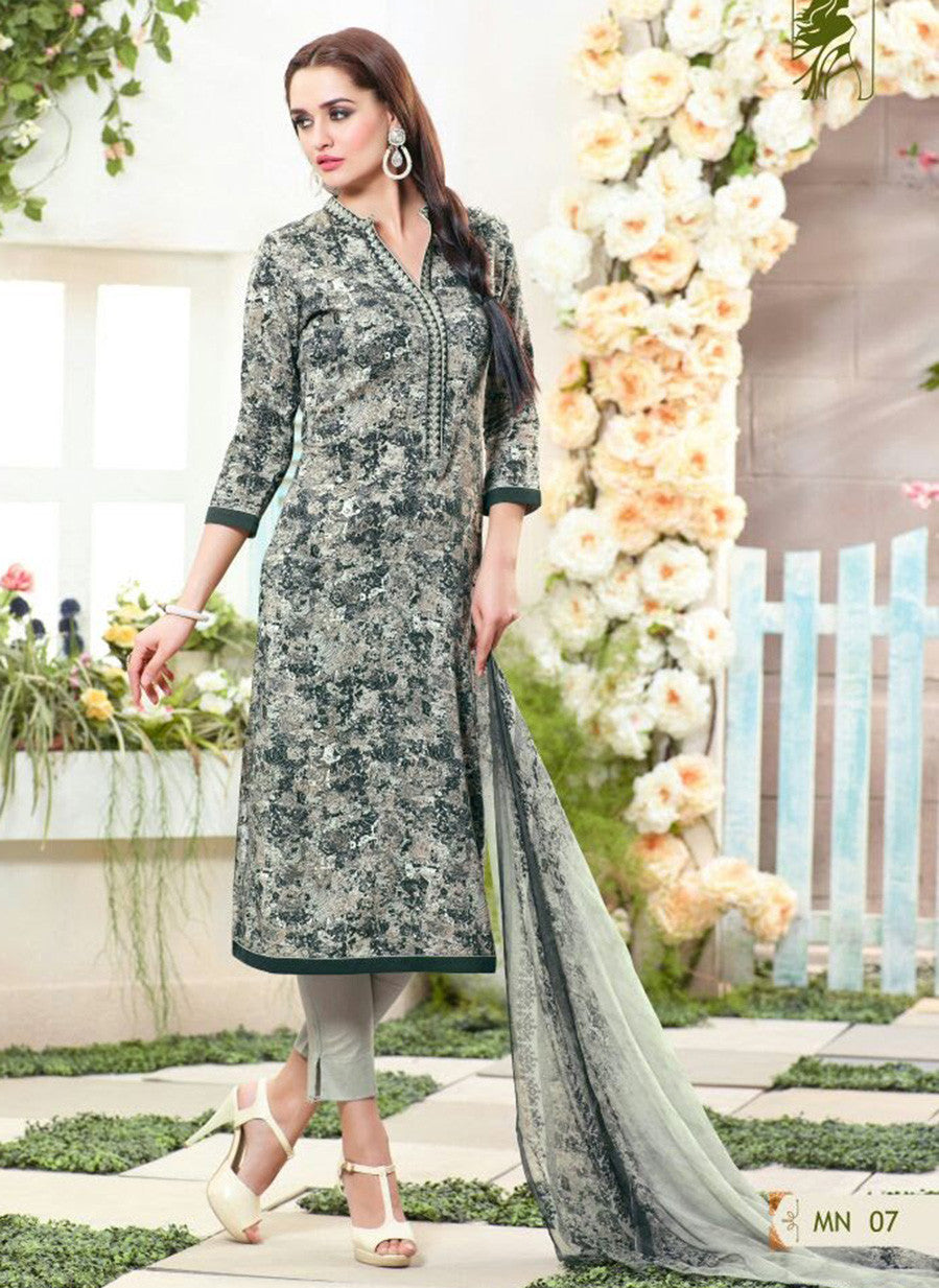 Sahiba MN 07 Black & Grey Color Cotton Designer Suit