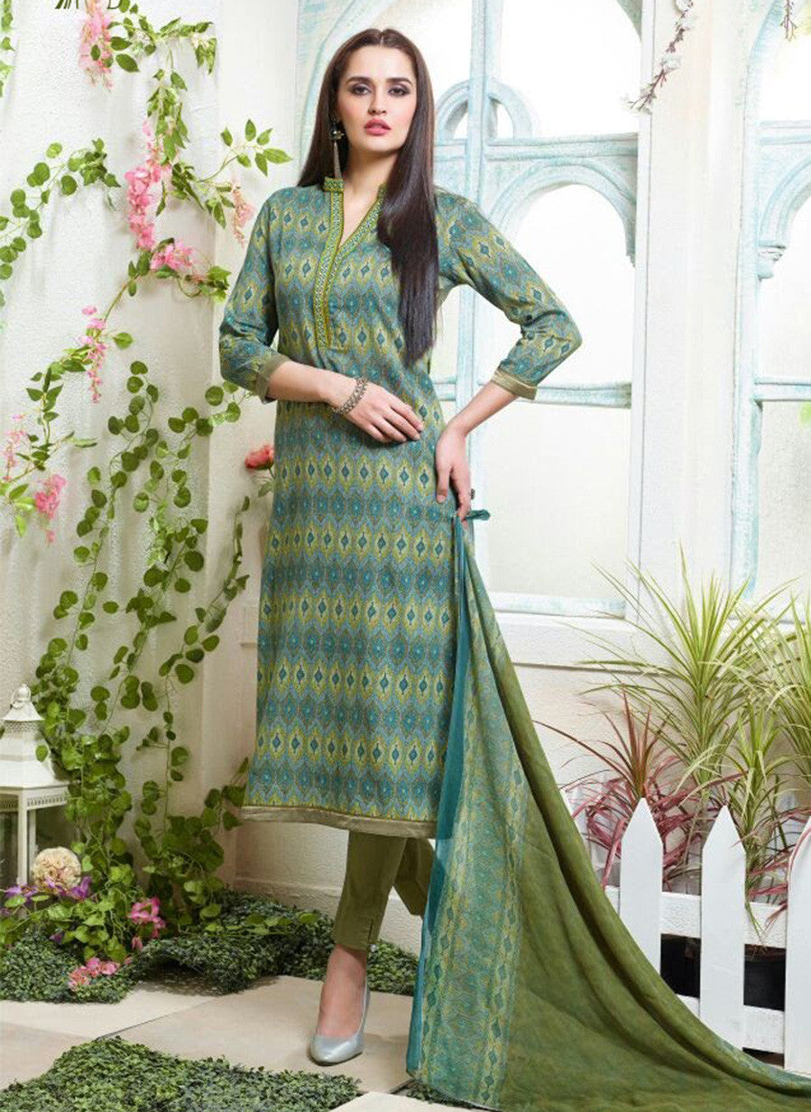 Sahiba MN 09 Blue & Sea Green Color Cotton Designer Suit