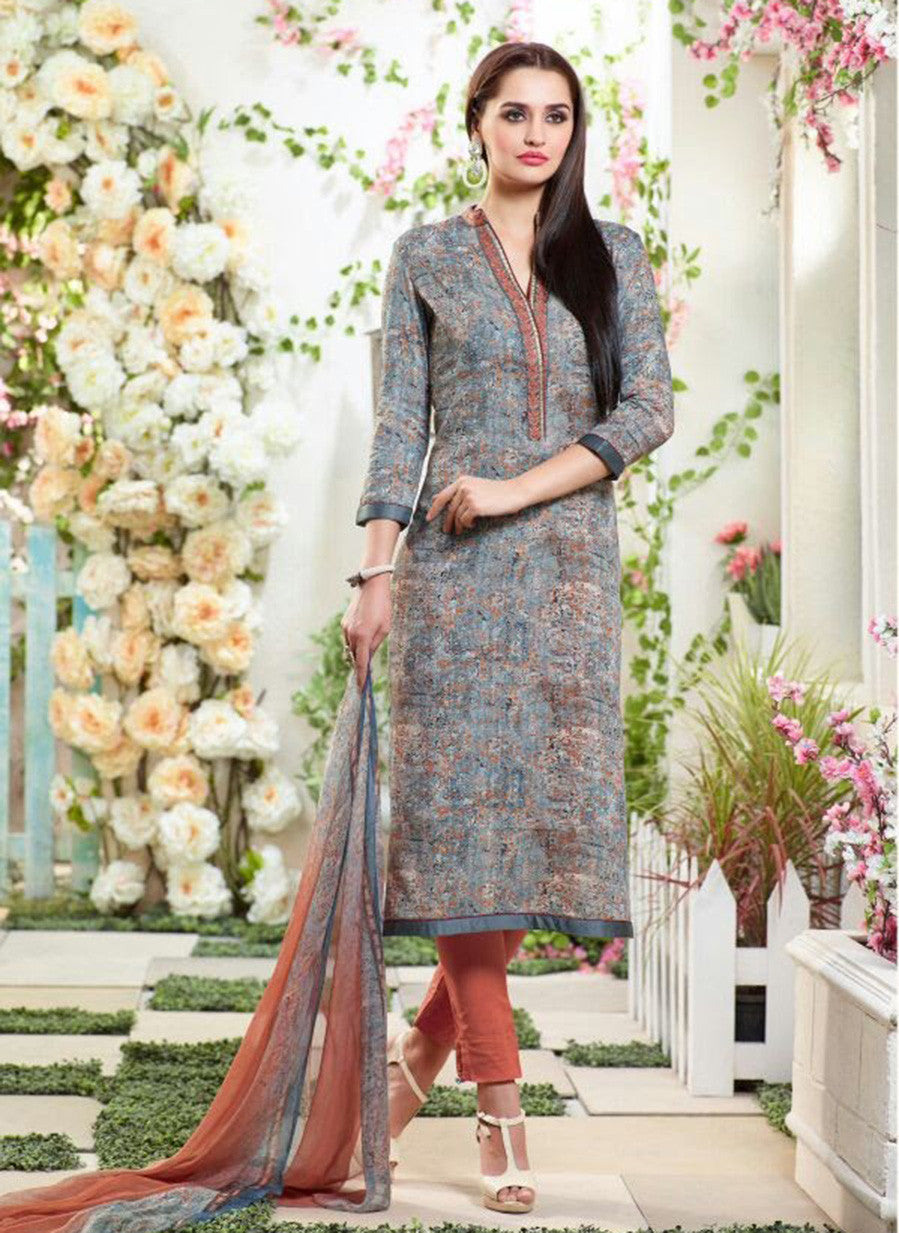 Sahiba MN 12 Beige & Red Color Cotton Designer Suit