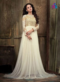 NS11064 White Party Wear Georgette Designer Gown Maisha Suit