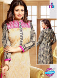 NS11190 Ivory and Pink Party Wear Chanderi or Cotton Satin or Banglory Silk Straight Suit