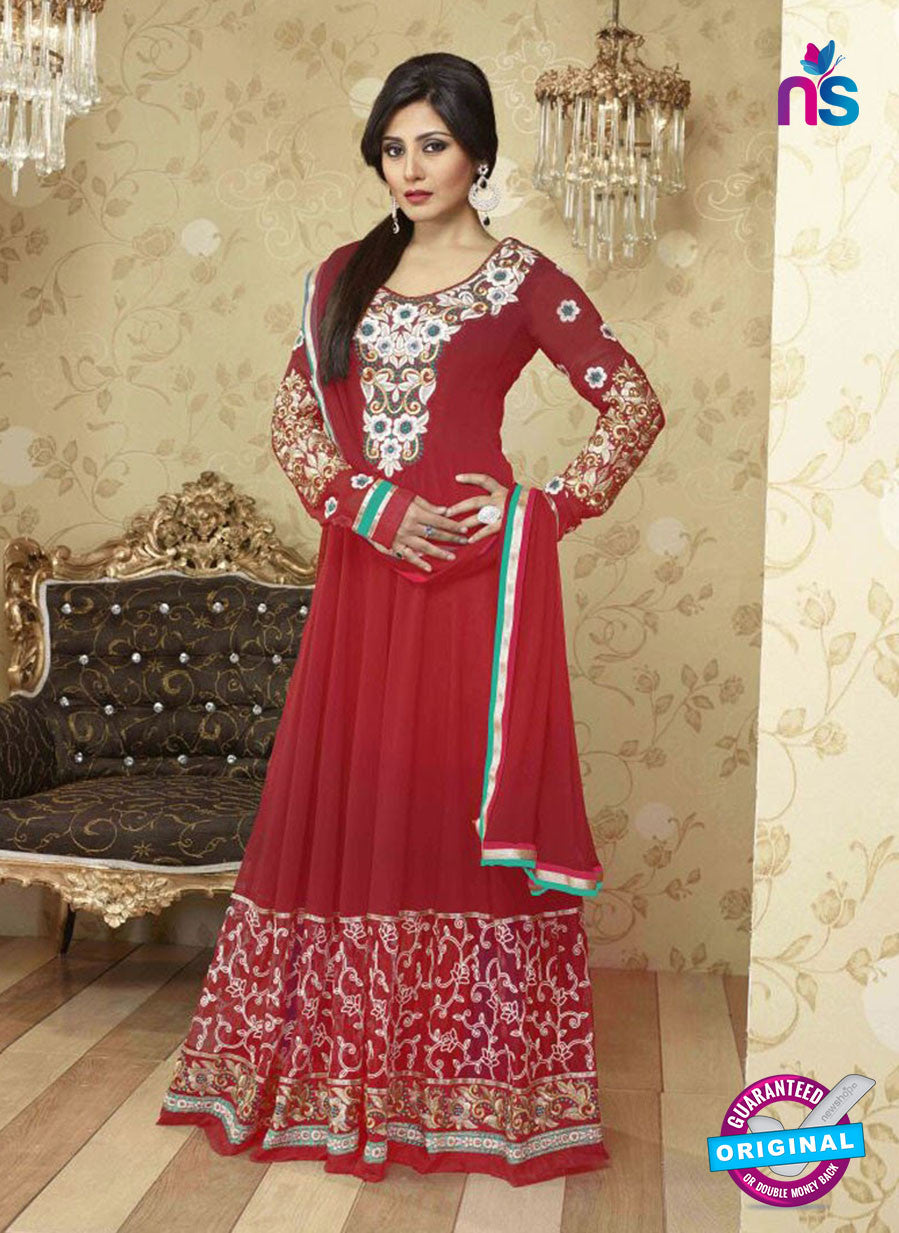 SC 12378 Maroon and Multicolor Embroidered Georgette Party Wear Anarkali Suit