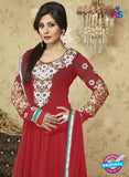 SC 12378 Maroon Embroidered Georgette Party Wear Anarkali Suit