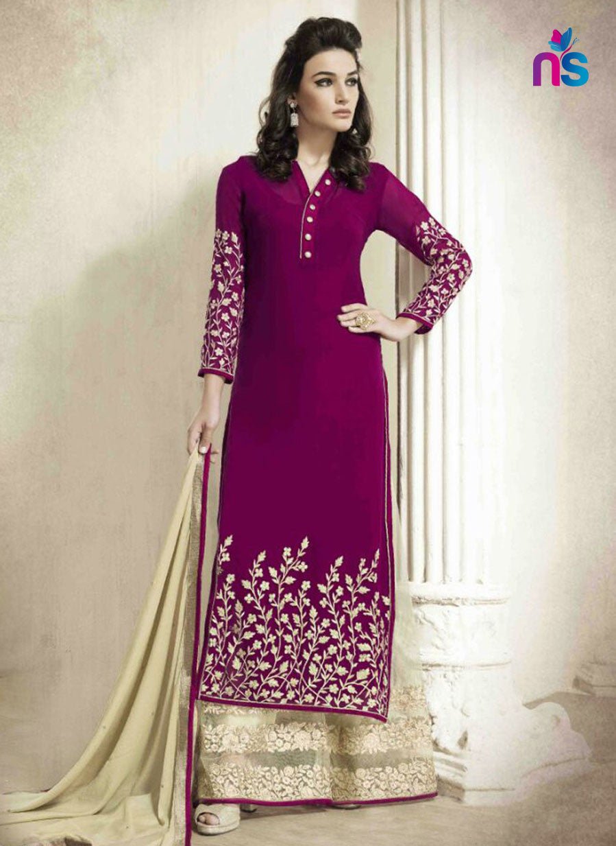 SC 12421  Purple and Beige Embroidered Georgette Party Wear Straight Suit Replica
