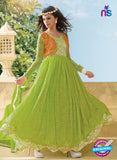 NS 11963  Green and Orange Designer Anarkali Suit