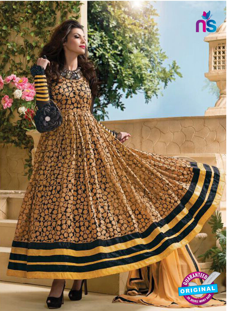 NS 11965 Black and Brown Designer  Anarkali Suit