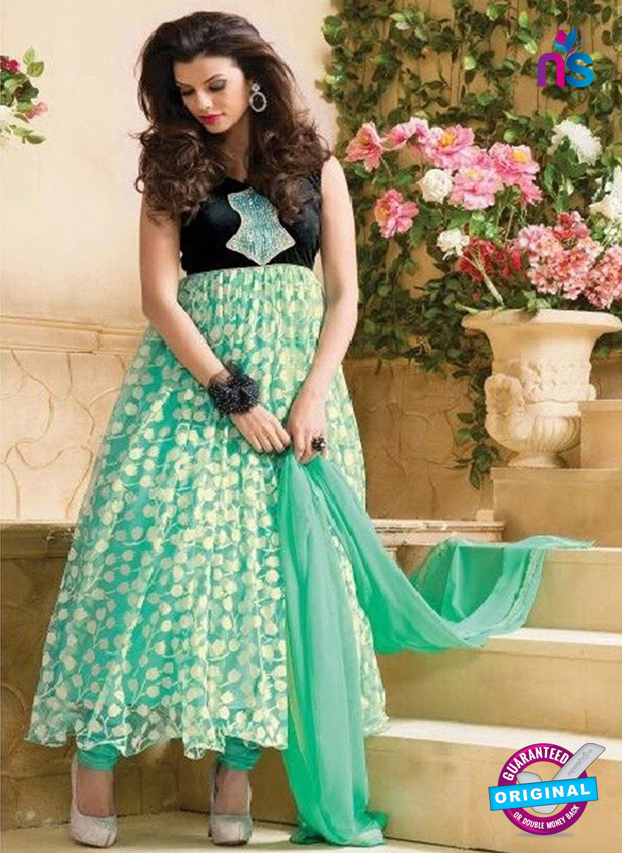 NS 11966 Sea Green and Black Designer Anarkali Suit