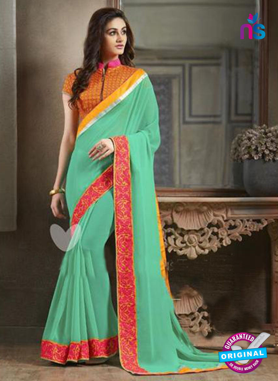 NS11116 Blue and Red Pure Georgette Designer Saree