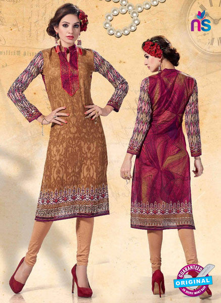 NS10922 Brown Color Cotton Designer Kurti