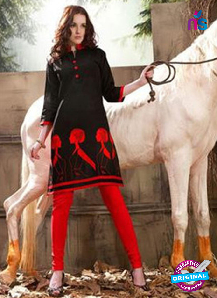 Buy NS11222 Black and Red Rayon Kurti Online