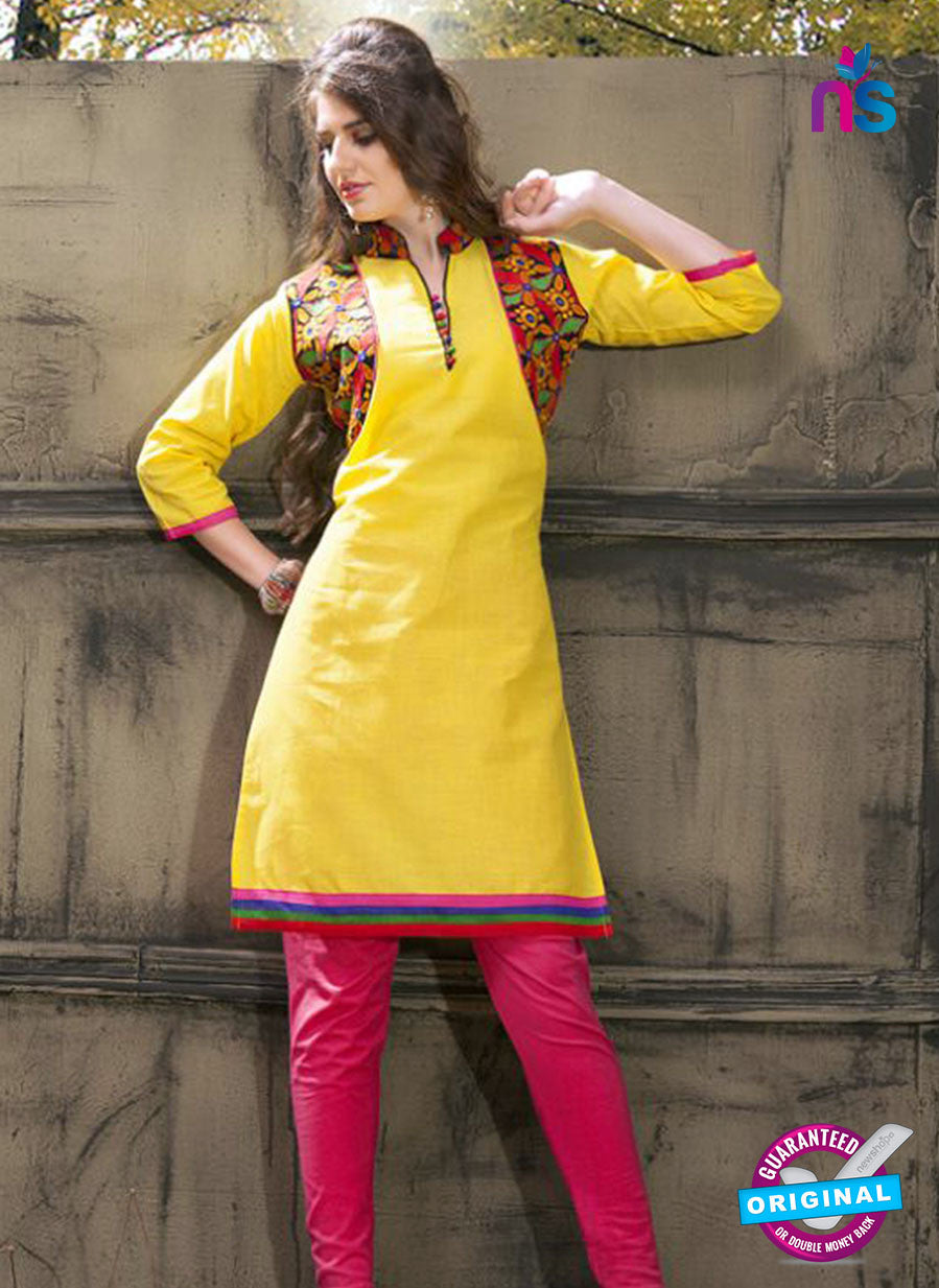Buy NS11223 Yellow and Pink Rayon Kurti Online