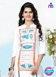 NS11771 White and Orange Ryon Kurti