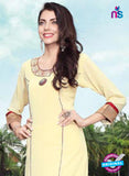 NS11795  Beige and Red Pure Chiffon Karachi Style Kurti