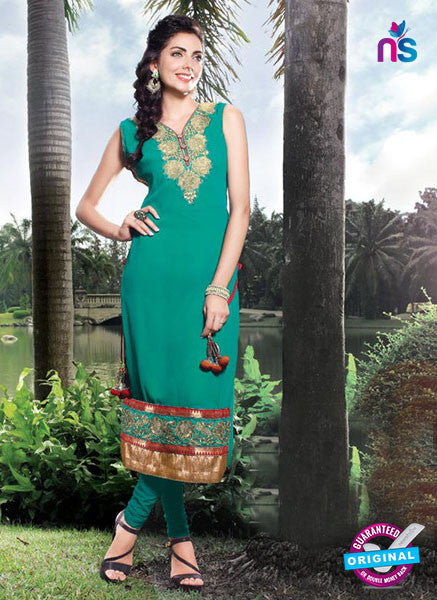 NS11799  Sea Green and Golden Pure Chiffon Kurti