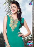 NS11799  Sea Green and Golden Pure Chiffon Kurti Online