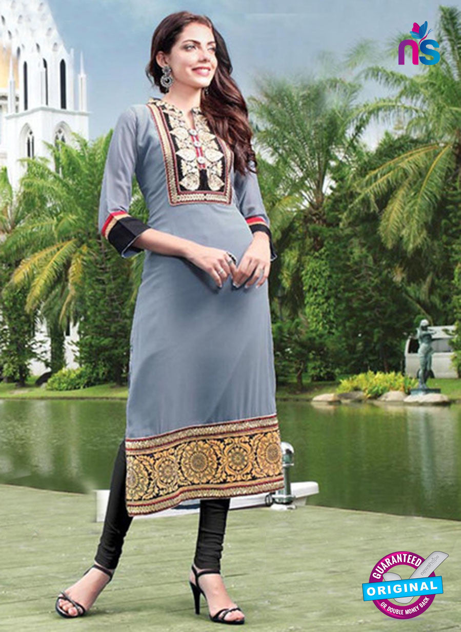 NS11796  Black and Grey Pure Chiffon Karachi Style Kurti