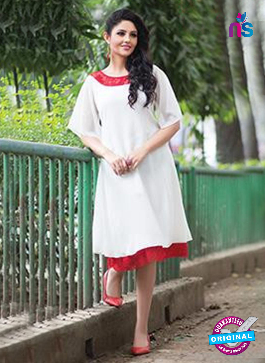 NS11759 White and Red Georgette Tunic