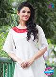 NS11759 White and Red Georgette Tunic Online