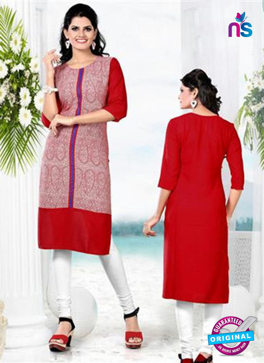 NS11768  Red and White Ryon Kurti