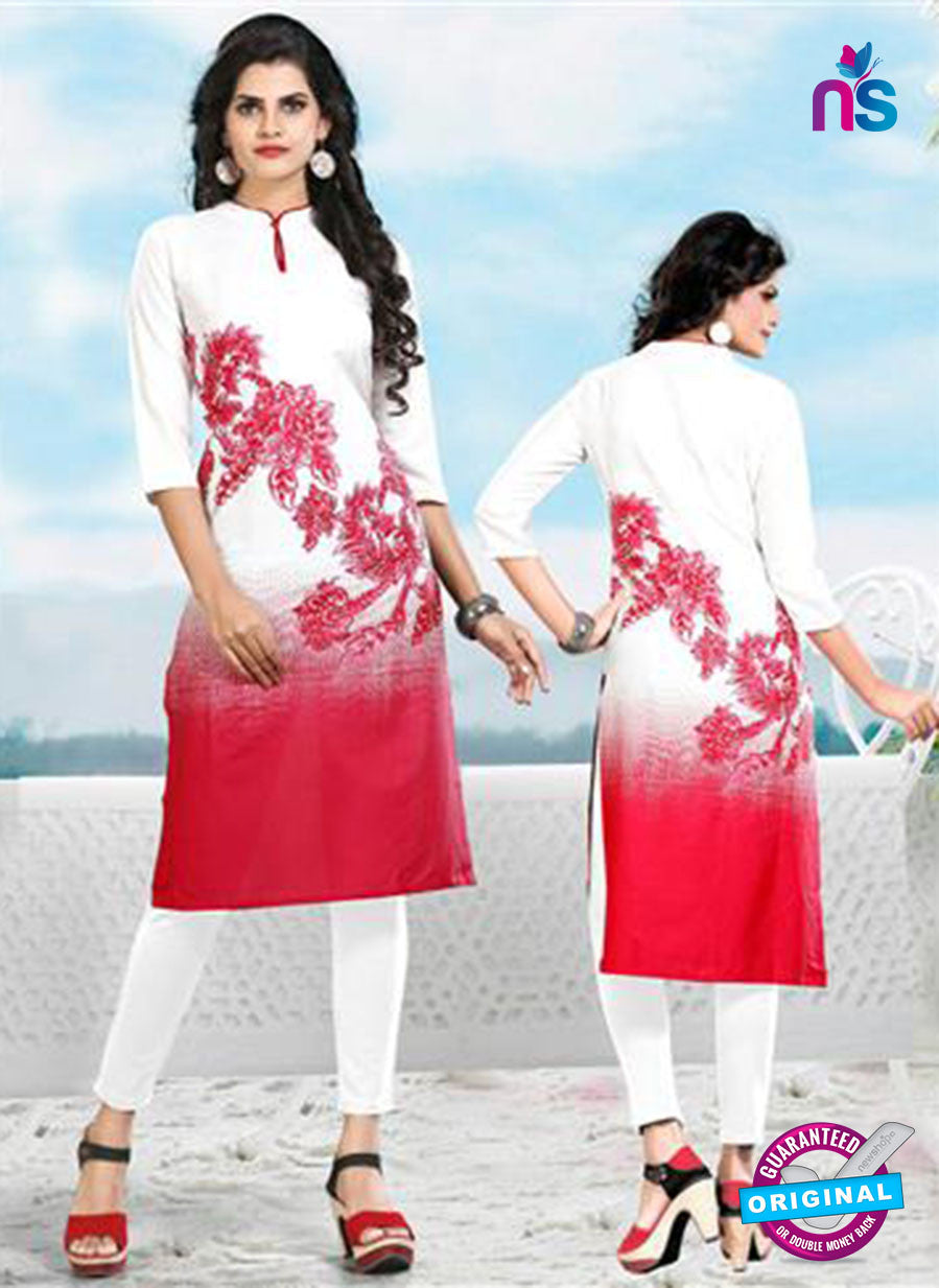 Buy NS11769 White and Red Ryon Kurti Online