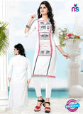 Buy NS11770 White and Pink Ryon Kurti Online