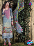 SC 12709 Blue and Multicolor Original Lawn Straight Suit