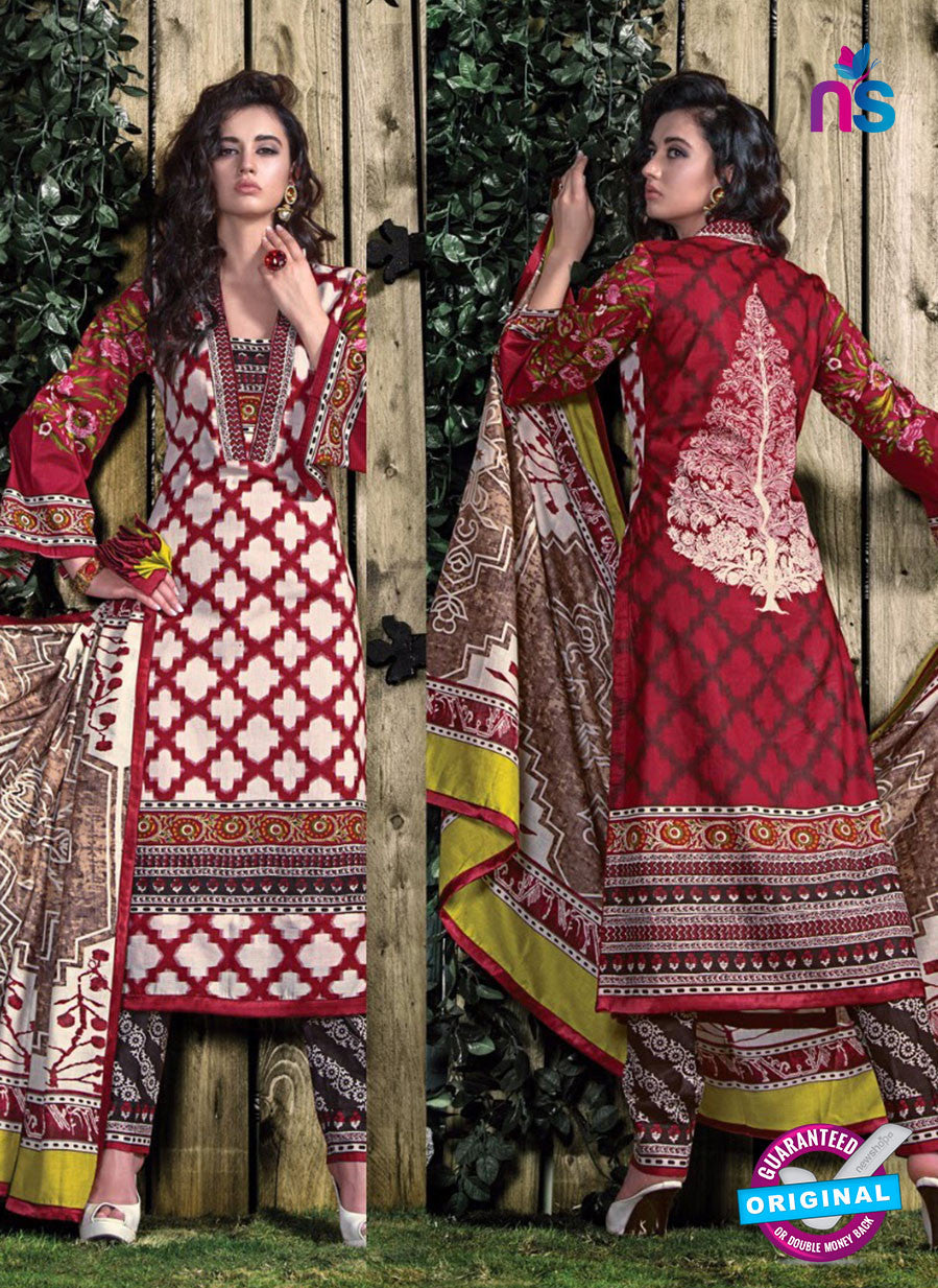 SC 12706 Red and Beige Lawn Straight Suit