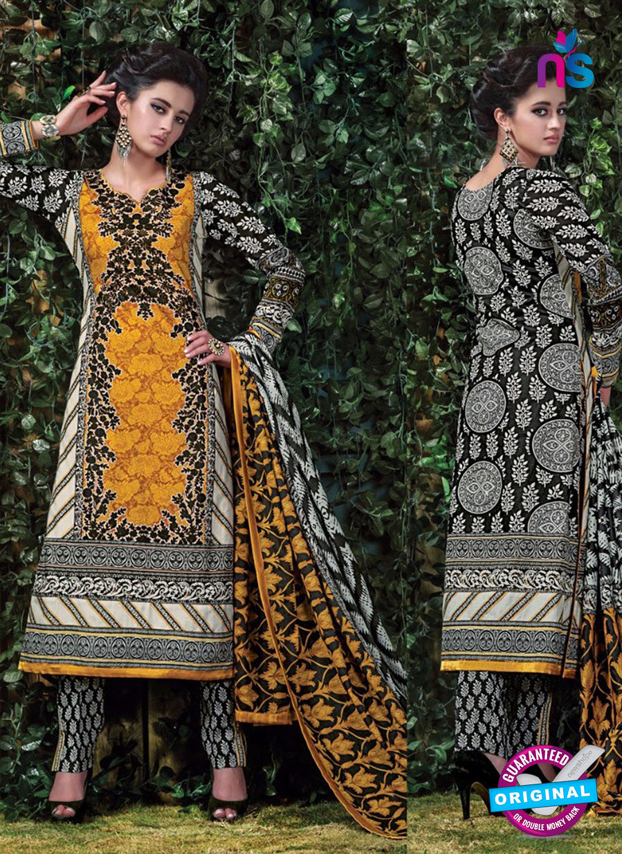 SC 12705 Yellow and Black Original Lawn Straight Suit