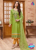 SC 13828 Green Cotton Satin Designer Fancy Exclusive Straight Suit