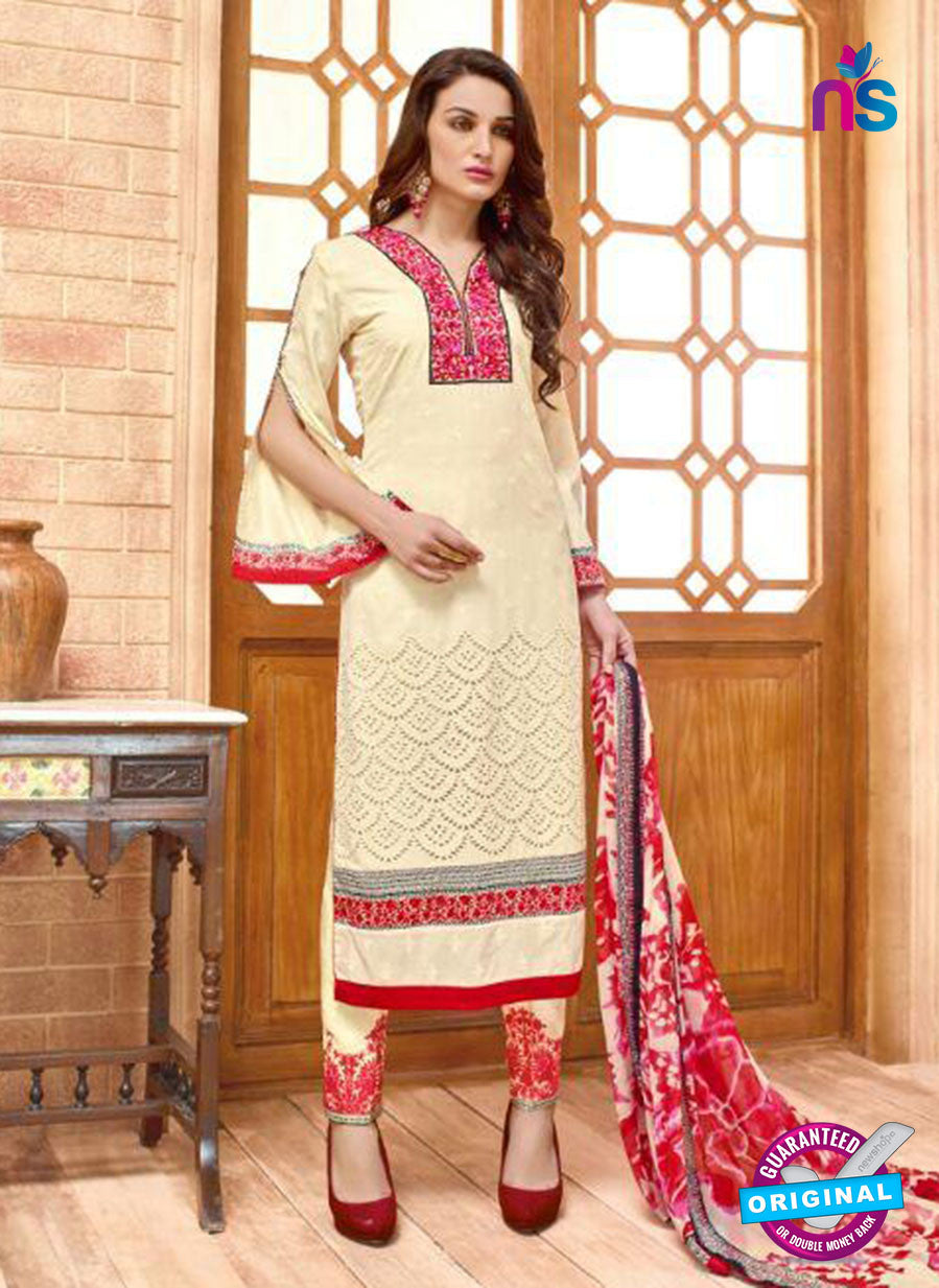 SC 13829 Beige Cotton Satin Designer Fancy Exclusive Straight Suit