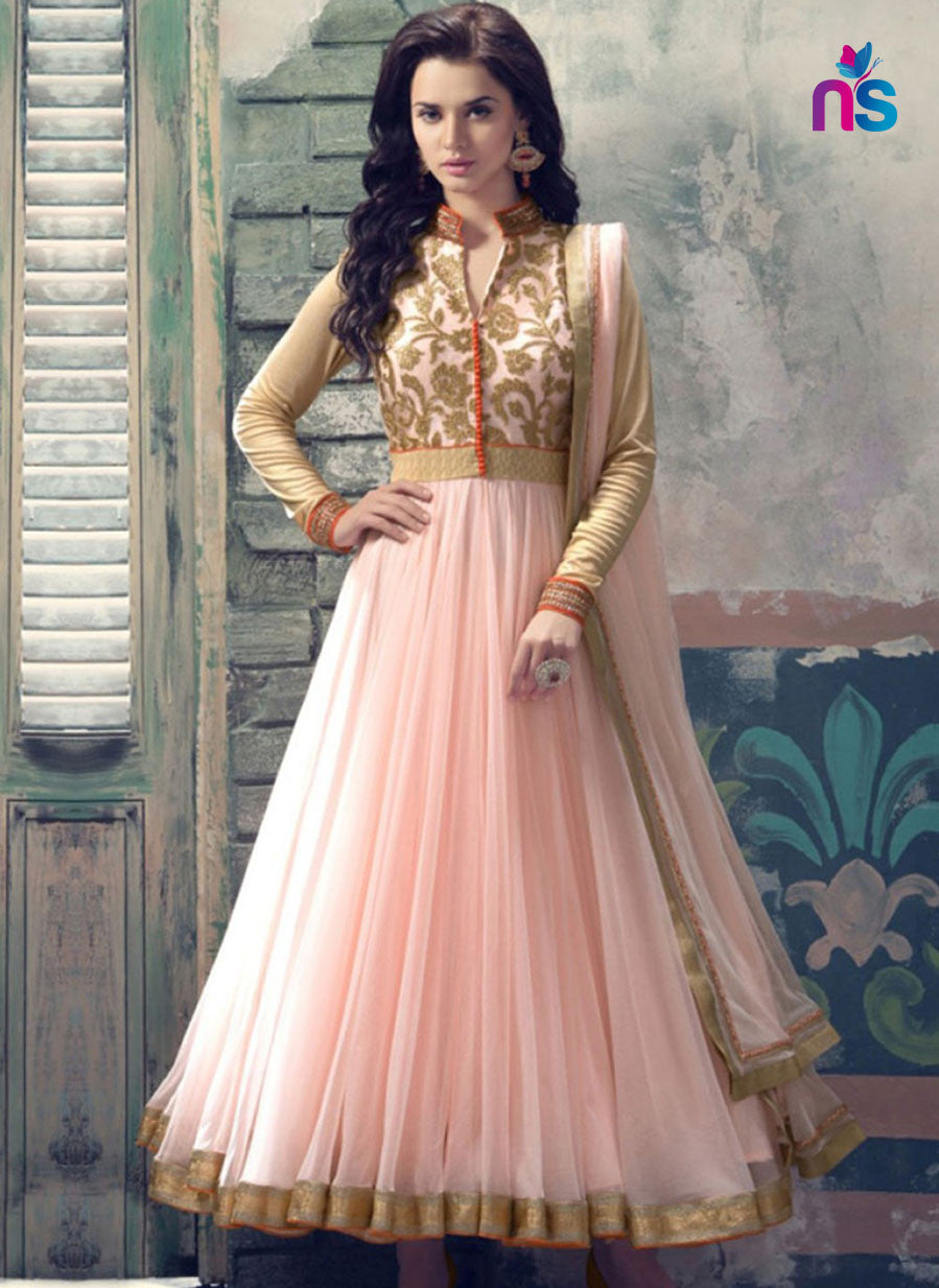 SC 12428  Peach and Beige Party Wear Embroidered Georgette Replica Anarkali Suit