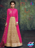 SC 12441  Pink and Beige Embroidered Faux Georgette Anarkali Style Designer Suit