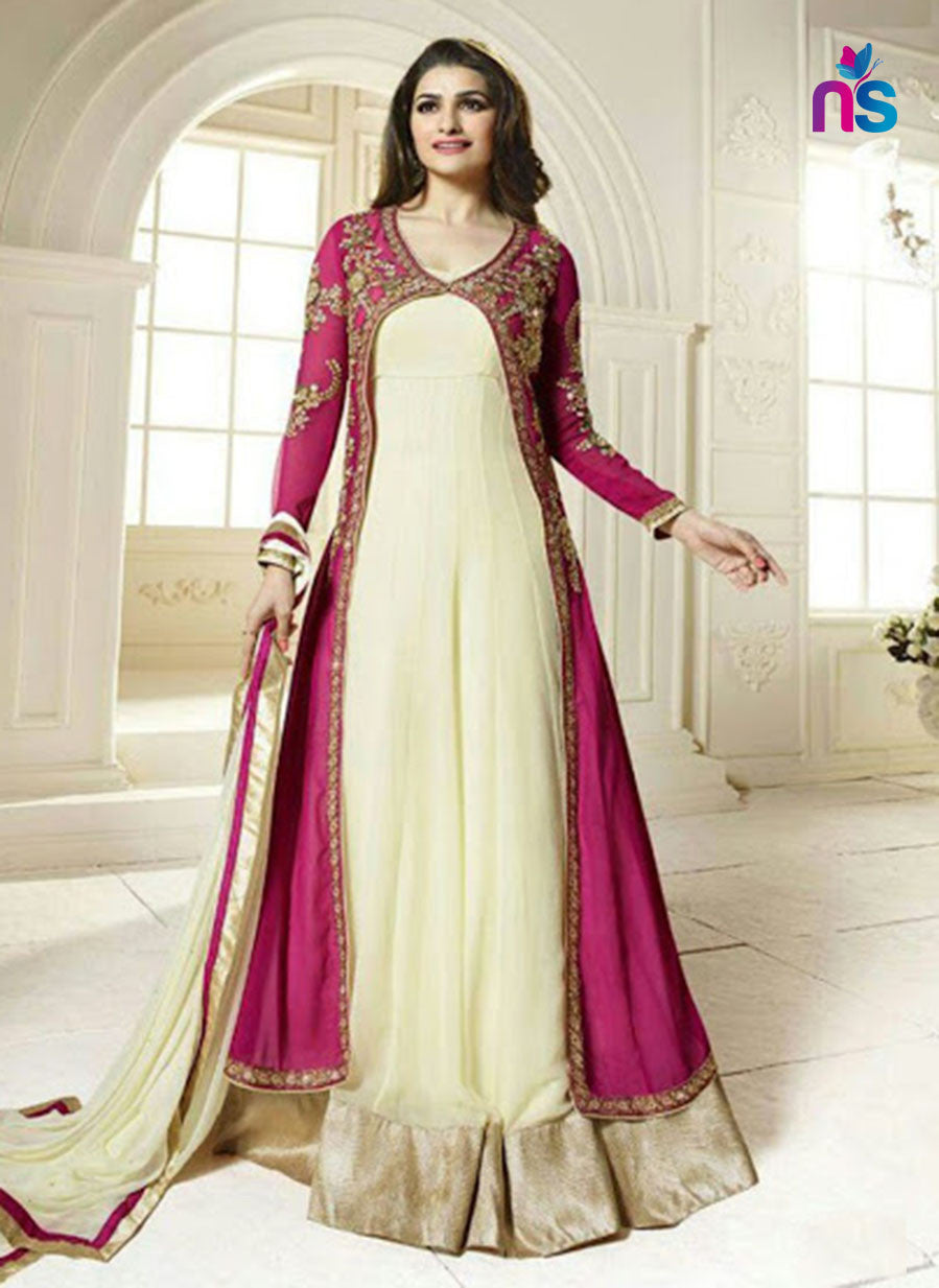 SC 12465 Magenta and Beige Party Wear Embroidered Georgette Designer Suit Replica