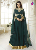 SC 12419  Green Embroiderd Georgette Party Wear Semi Stitched Anarkali Replica