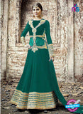 SC 13255 SeaGreen and Golden Embroidered Georgette Fancy Gawn