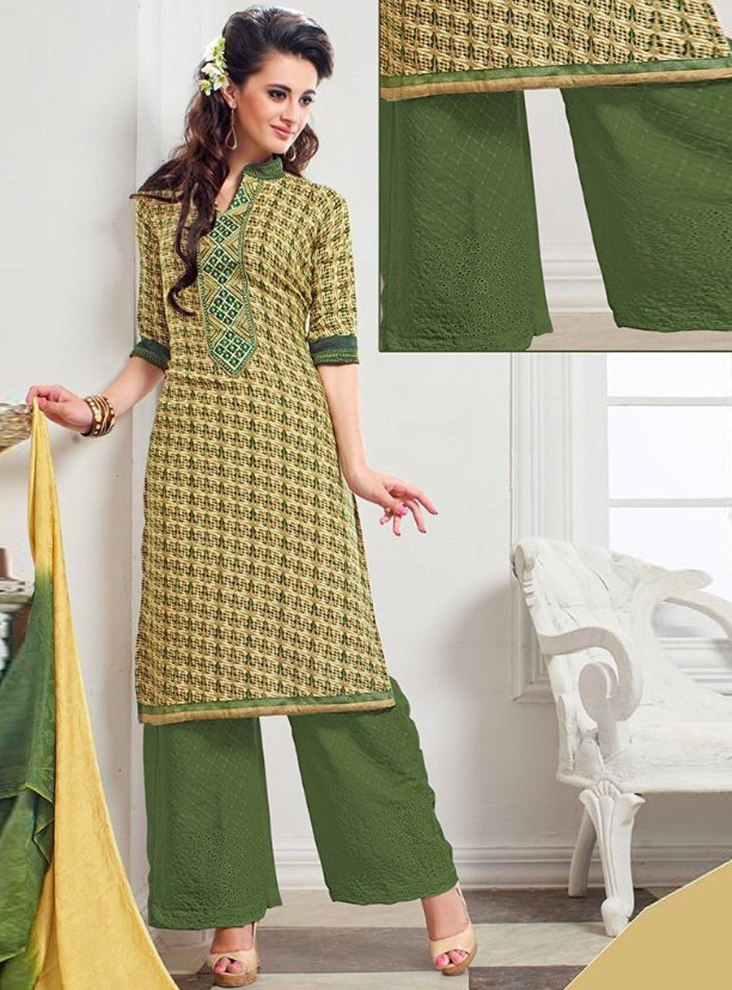 NS11385 A Green Color Pashmina Salwar Suit