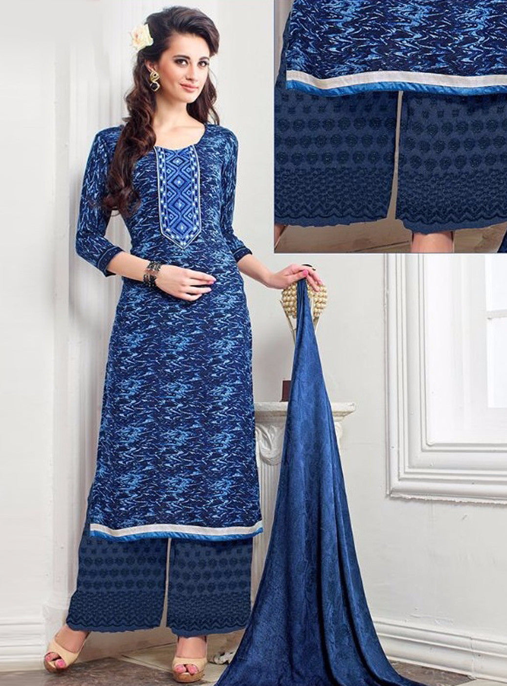 NS11388 B Blue Color Pashmina Salwar Suit