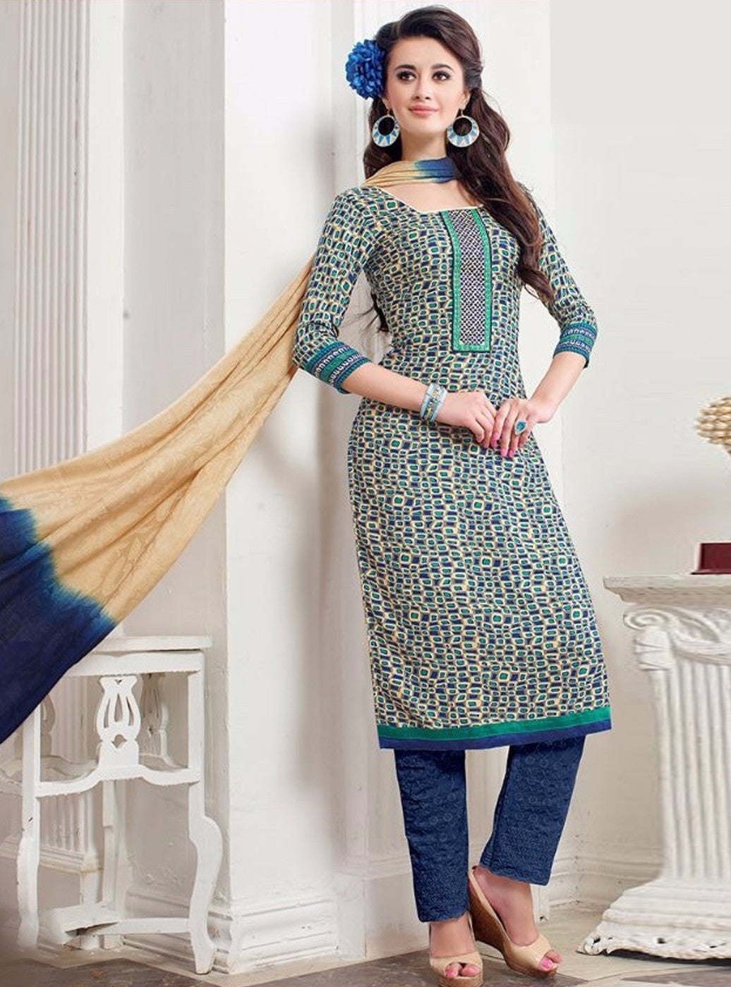 NS11394 B Blue Color Pashmina Salwar Suit