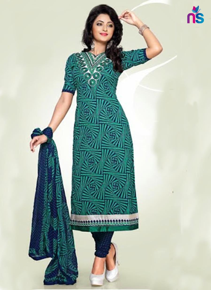 Sea Green Cotton Dress Material