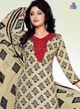 Beige and Black Cotton Dress Material Online