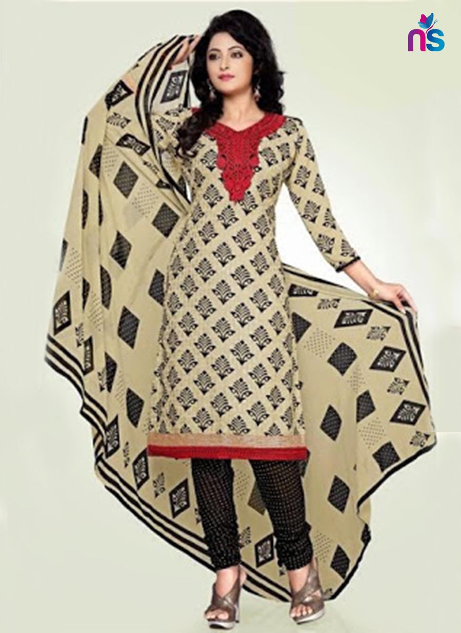 Beige and Black Cotton Dress Material