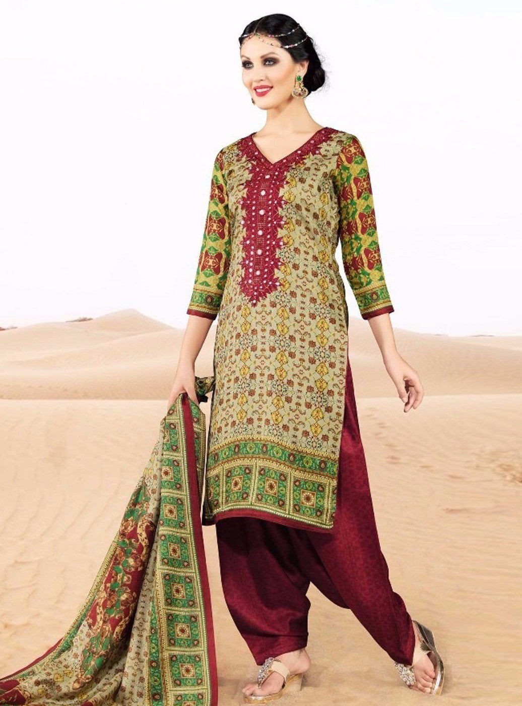 Rakhi 5717A Beige & Red Color Pashmina Salwar Suit