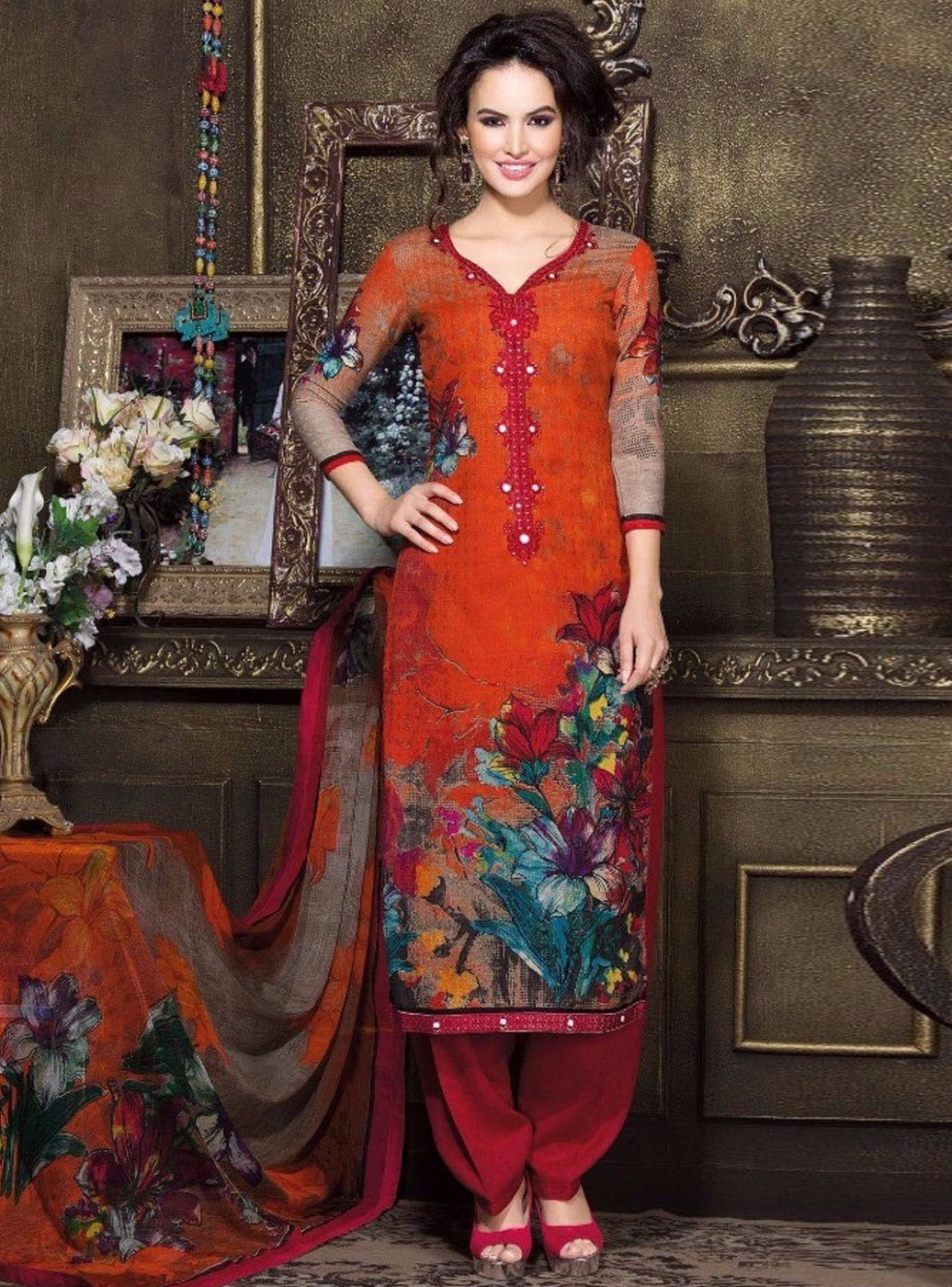 Rakhi 7117 B Orange Color Pashmina Salwar Suit
