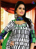 NS11415 White and Green Cotton Chudidar Suit