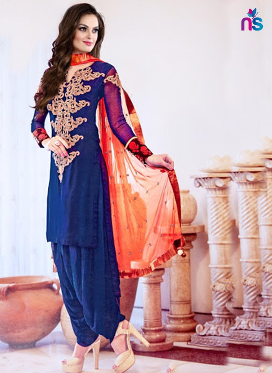 NS11416 Blue and Orange Georgette Designer Suit