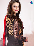 NS11418 Black and Red Georgette Designer Suit
