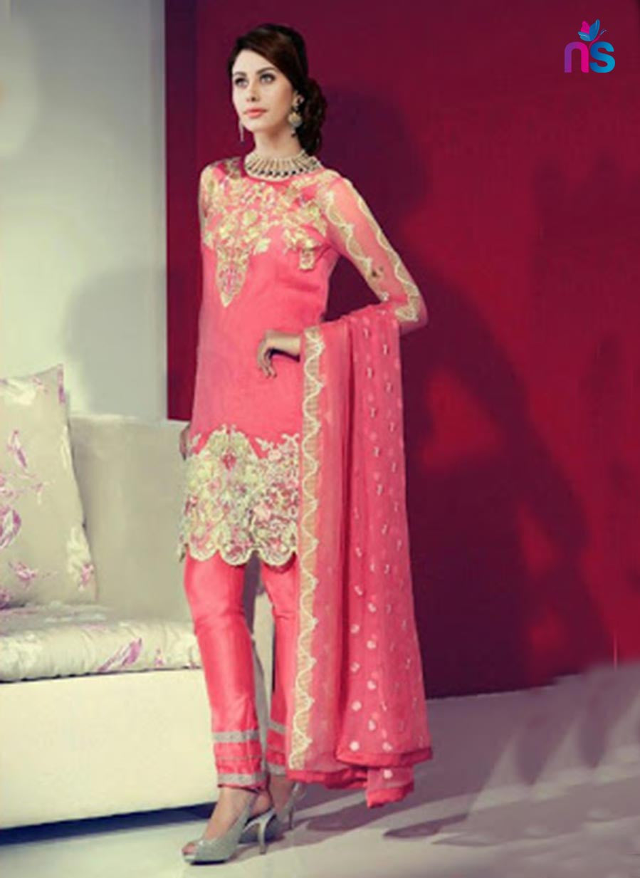 NS11429 Pink and Beige Party Wear Georgette Pakistani Suit